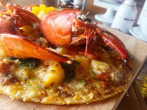 Maine Lobster & Peach Pizza
